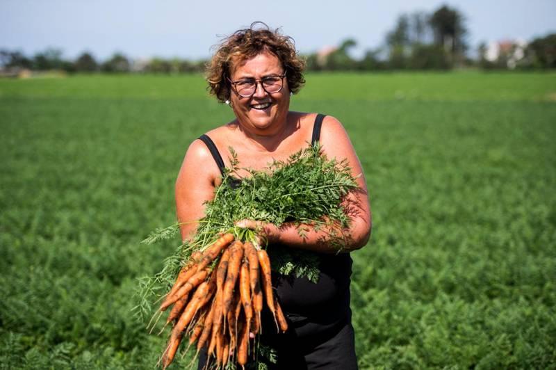 Bildet er av landbruksminister Olaug Bollestad. Hun står ute på et jorde. Hun holder opp en bunt med gulrøtter.
