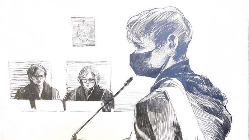 Bildet viser en tegning fra retten av Laila Anita Bertheussen.