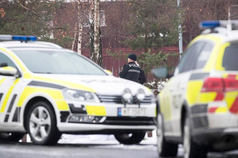Bildet viser politifolk og biler på Vinstra etter drapet.