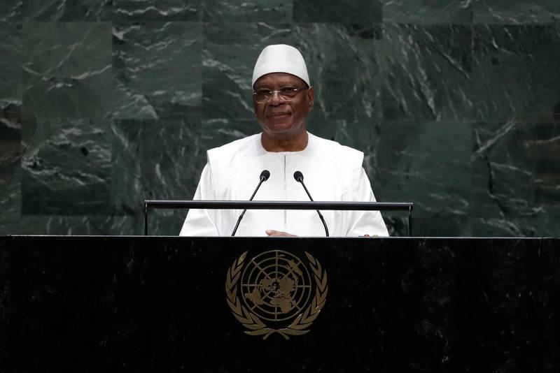 Bildet er av Ibrahim Boubacar Keita som holder en tale i FN.