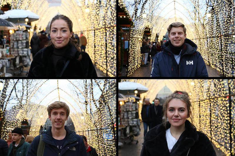 Bildet viser Samantha Escobar, Jimmy Verhoef, Oliver Wichstad Grønli og Mira Saab. Alle har hver sine favorittsanger til jul. Sangene er de nevner, er populære på strømmetjenesten Spotify.