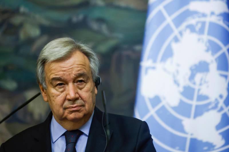 Nærbilde av generalsekretæren av FN Antonio Guterres.