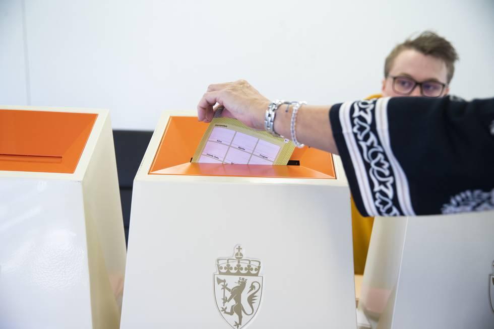 34.286 personar leverte si stemme til stortingsvalet 13. september det siste døgnet. Foto: Berit Roald / NTB / NPK