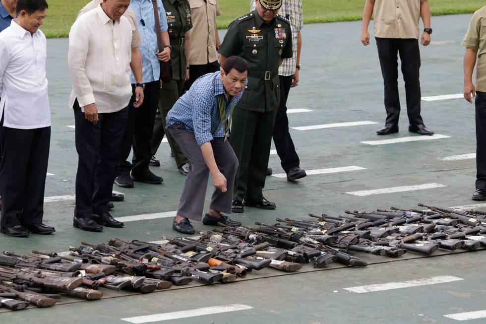 Bildet viser president Rodrigo Duterte på Filippinene.