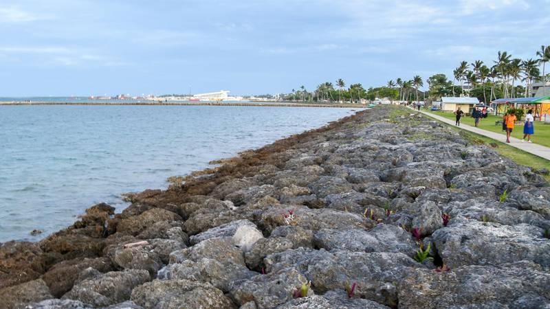 Bildet viser en steinmur som skal hindre at vann kommer inn i sentrum av hovedstaden på Tonga.