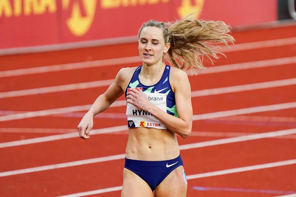 Oslo 20200611. Hedda Hynne fra Norge i aksjon på 600m for kvinner under Impossible Games 2020 på Bislett.Foto: Lise Åserud / NTB