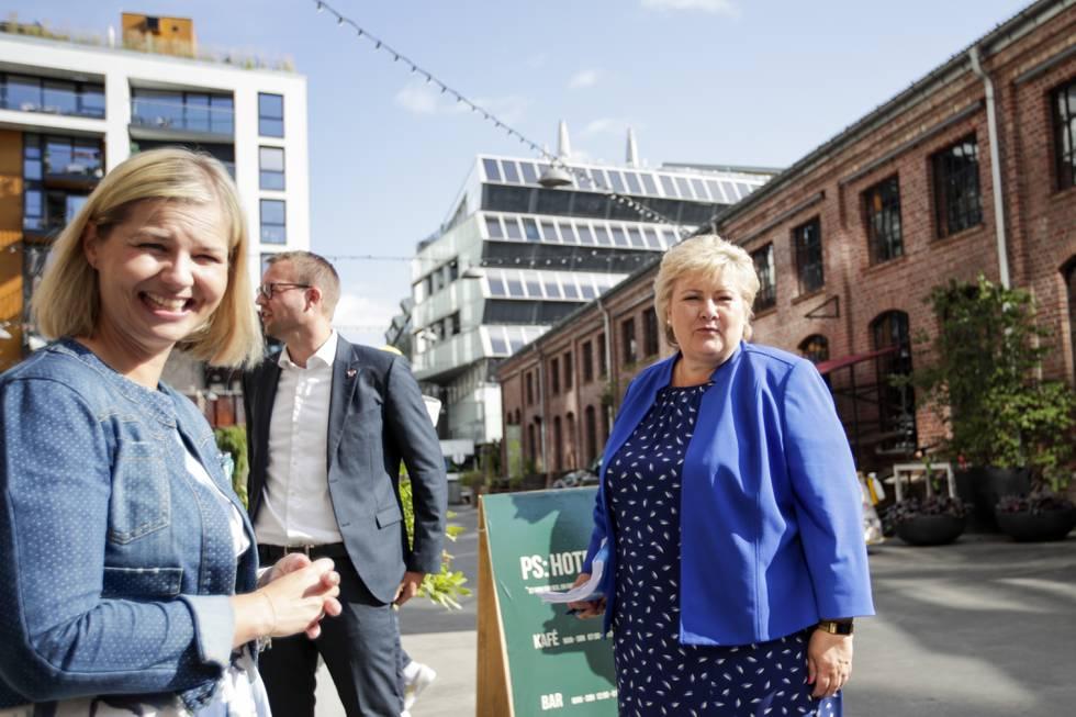 Bildet viser Høyre-leder Erna Solberg, Venstre-leder Guri Melby og KrF-leder Kjell Ingolf Ropstad. De kom onsdag med ti grep for å få flere jobber og flere i jobb. Foto: Javad M. Parsa / NTB