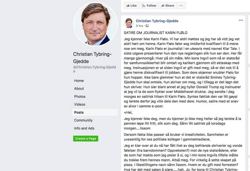 HETS: Politiker og stortingsrepresentant Christian Tybring-Gjedde hetser en Klar Tale-journalist på sin Facebook-side.