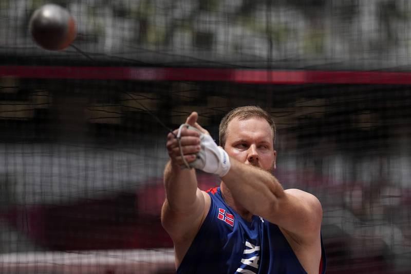 Eivind Henriksen er klar for OL-finale i slegge etter rekordkast. Foto: David J. Phillip / AP / NTB