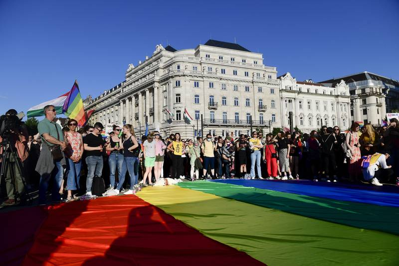 Forbudet mot «promotering av homofili» ble vedtatt tross protester og opposisjonens boikott. Foto: Szilard Koszticsak / MTI / AP / NTB