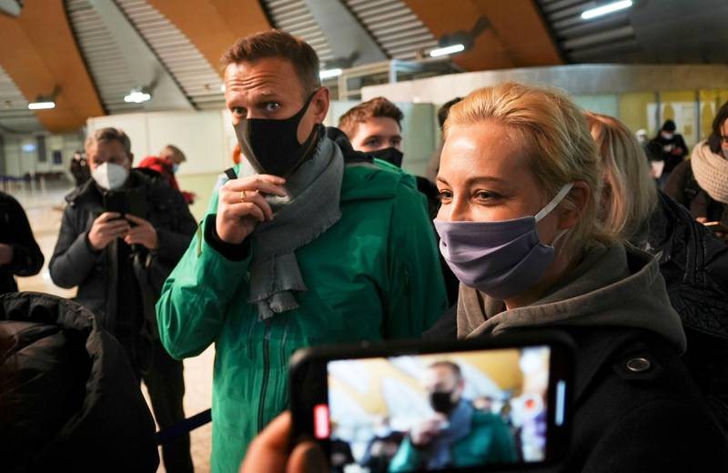 Bildet viser opposisjonslederen Aleksej Navalny og kona Yulia.
