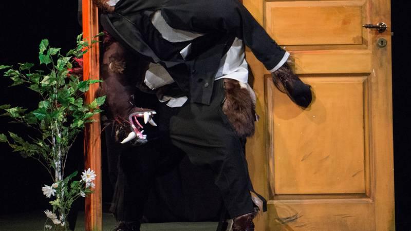 FORSØKTO:Publikum roper til villsvinet. De prøver å hjelpe ham inn døren.