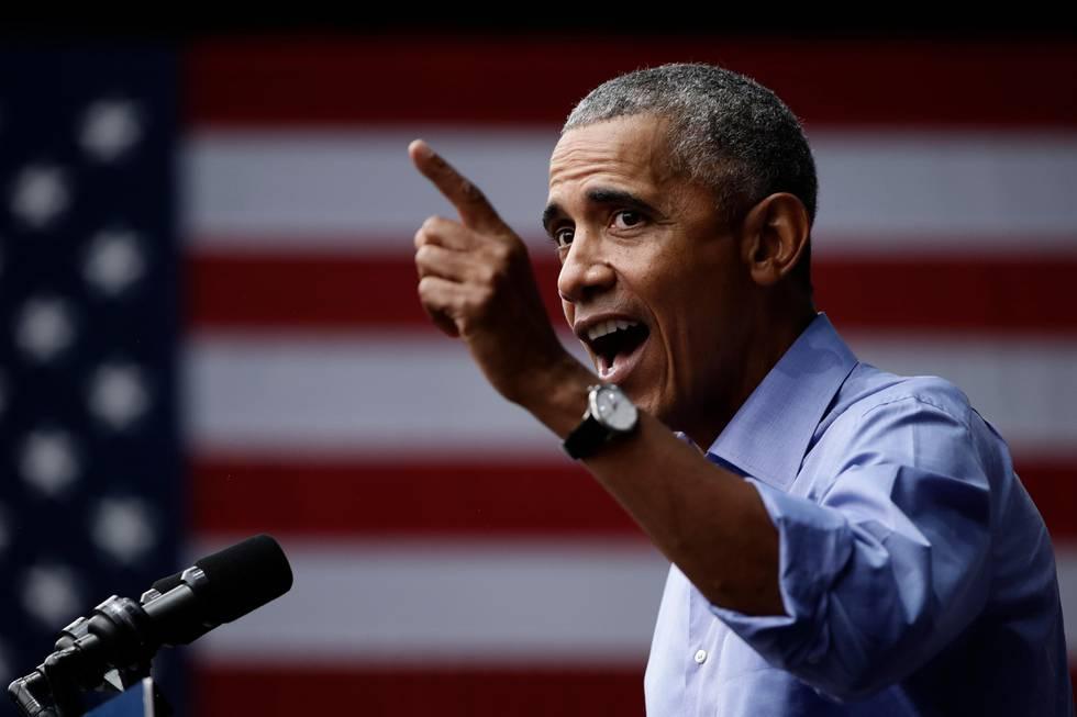 Bildet viser Barack Obama der han holder en tale i Pennsylvania forrige uke.