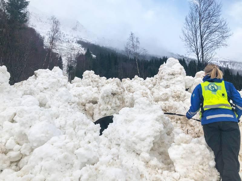 Bildet viser snøskredet på E39 ved Hornindalsvatnet i Sogn og Fjordane.