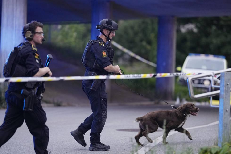 Politiet er på stedet med store styrker etter at to personer ble skutt på Skøyenåsen T-banestasjon i Oslo søndag kveld. Foto: Fredrik Hagen / NTB