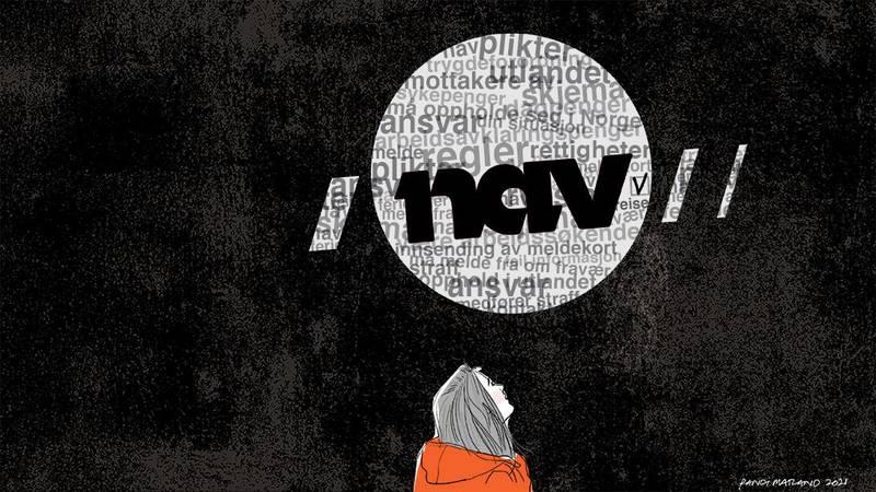 """Bildet er en tegning. Det viser en kvinne som ser opp mot en Nav-logo. Ordet «Nav"""" står i svart. I bakgrunnen er en sky av ord som «ansvar», «plikt», «regler», «meldekort», «arbeidsavklaringspenger»."""
