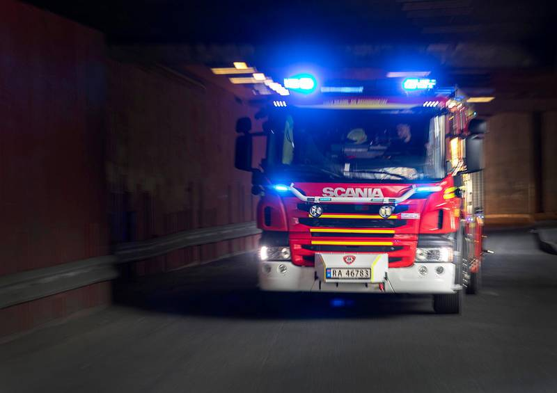 Oslo  20170707.Brannbil under utrykning / i aksjon / i fart. i Oslo brann- og redningsetat.Foto: Gorm Kallestad / NTBNB! Kun redaksjonell bruk