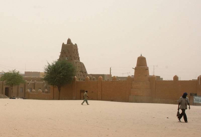 Bildet viser Sankore-moskeen i Timbuktu i Mali.