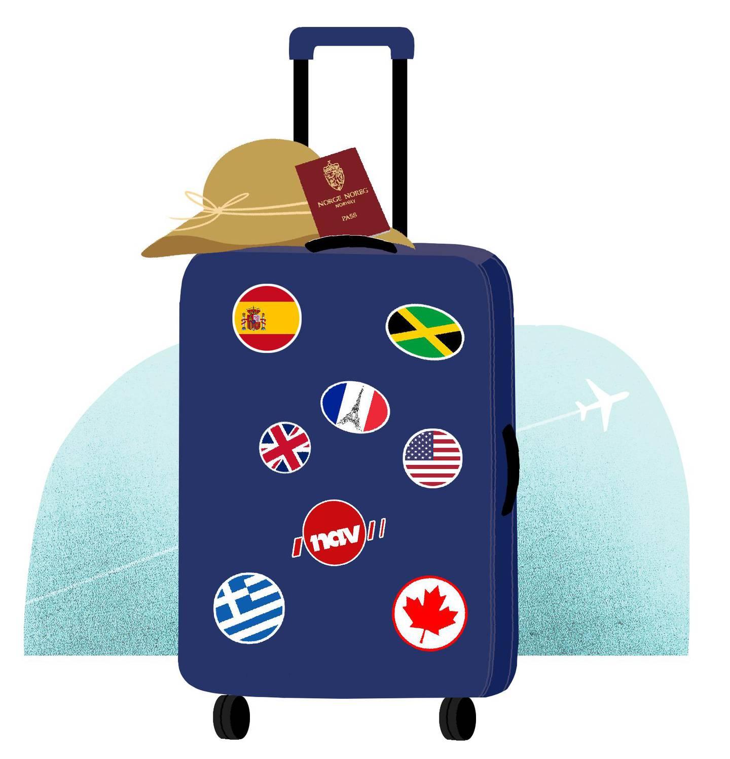 Bildet er en illustrasjon av en koffert. Det er runde klistremerker på den. Mange er fra ulike land, men en er også logoen til Nav. Det er en hatt og et pass på toppen av kofferten.