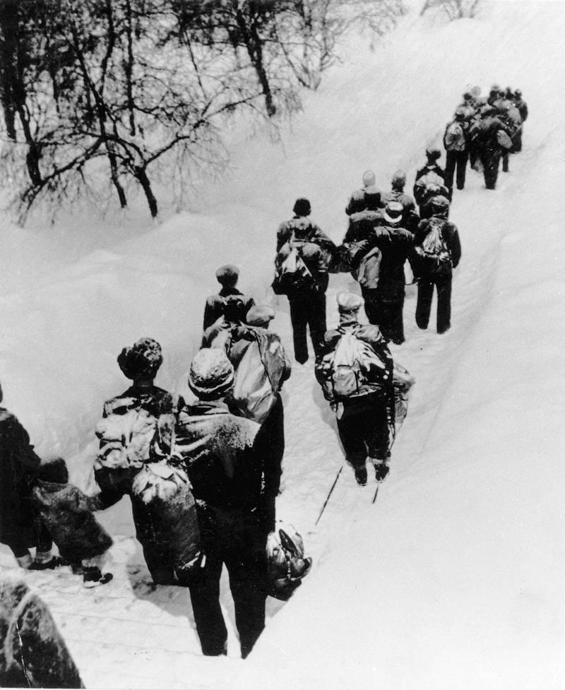 Norske flyktninger på vei til Sverige under krigen 1940-1945. Grenseloser. Flukt. Foto: NTB scanpix