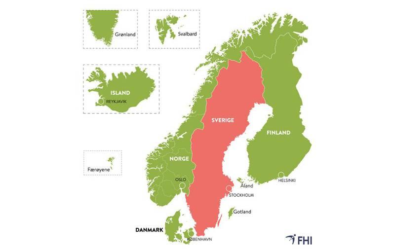 Bildet viser et kart over de nordiske landene. Norge, Danmark, Finland, Island, Færøyene, Svalbard, Grønland og Gotland i Sverige er grønne. Dit kan folk i Norge reise fritt. Resten av Sverige er rødt. Dit kan vi fortsatt ikke reise uten å måtte i karantene etterpå.