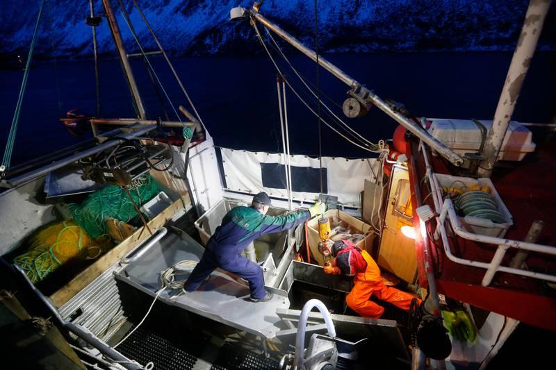 Bildet er fra en fiskebåt. Bildet er tatt høyt oppe, og ned mot to personer som jobber på dekk på båten.