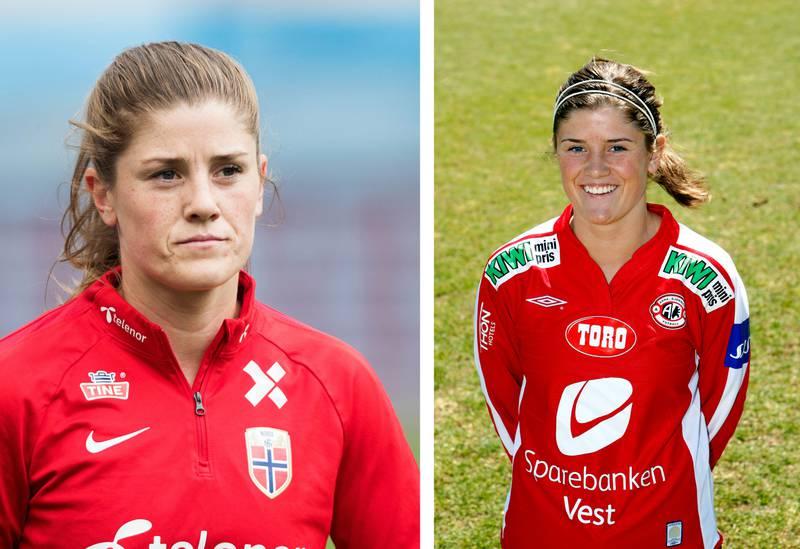 Bildet er satt sammen av to. De viser Maren Mjelde i 2019 og 2008.