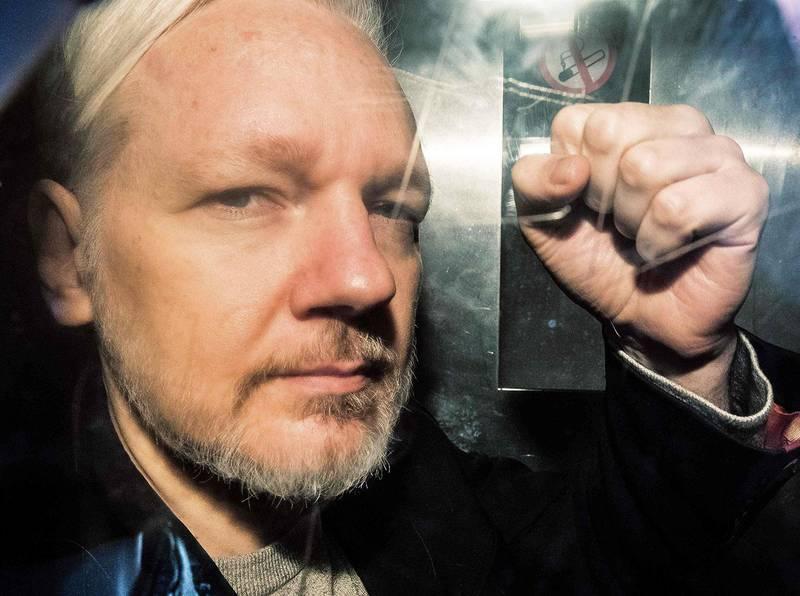 Bildet viser Julian Assange tidligere i år.