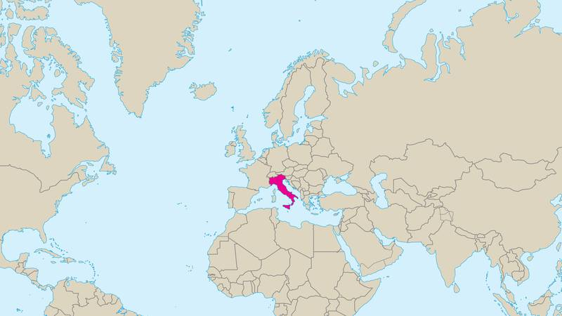 Bildet viser et kart over Europa. Italia er merket med rødt.