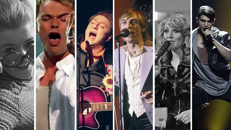 Bildet viser seks av artistene som har tatt sisteplasser for Norge i Eurovision.