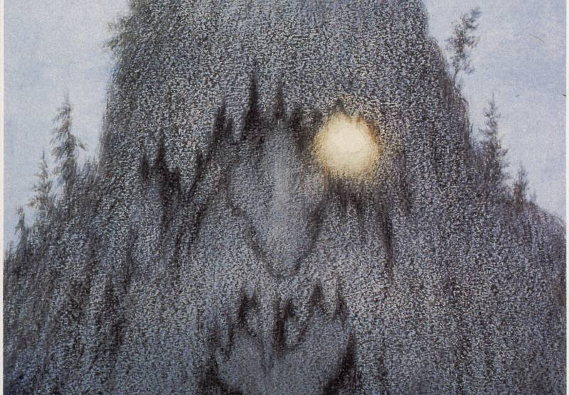 Bildet viser en tegning av et troll, laget av Teodor Kittelsen.