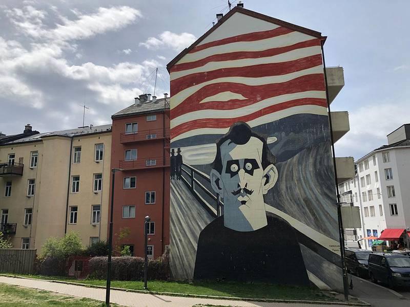 Bildet viser et veggmaleri på en bygård på Tøyen. Det viser Edvard Munch.